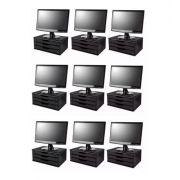 Conj com 9 Suportes para Monitor em MDF Black Piano com 3 Gavetas Souza Referência 3347