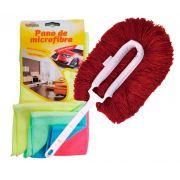CONJ. Espanador Eletrostático Bralimpia Vermelho + Pano de Microfibra para limpeza a seco Kit c/ 4 cores sortidas 30 x 30 cm