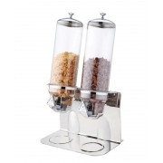 Dispenser Porta Cereais Duplo Inox Policarbonato 4 Litros (2 X 2 Litros)