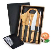 Kit para churrasco em bambu e inox com avental 6 peças ME-04813