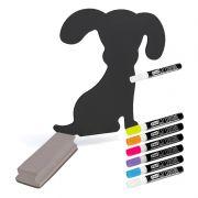 Quadro negro decor giz líquido formato Cachorro + Conj 6 canetas + Apagador