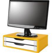 Suporte para Monitor de Mesa em MDF Amarelo com 2 Gavetas Brancas