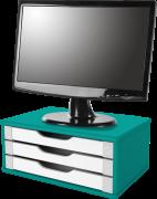 Suporte para Monitor de Mesa em MDF Azul com 3 Gavetas Brancas