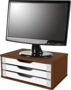 Suporte para Monitor de Mesa em MDF Tabaco CLARO com 3 Gavetas Brancas