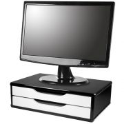 Suporte para Monitor de Mesa em MDF Black Piano com 2 Gavetas Brancas
