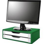 Suporte para Monitor de Mesa em MDF Verde com 2 Gavetas Brancas
