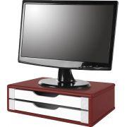 Suporte para Monitor de Mesa em MDF Vermelho com 2 Gavetas Brancas Souza Referência 3360