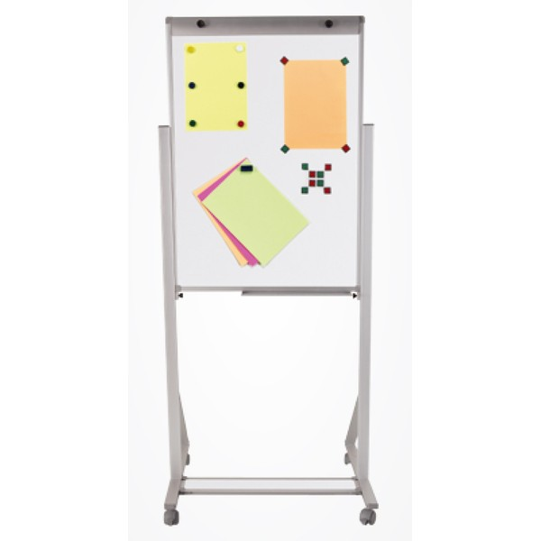 Porta Bloco Cavalete Flip Chart Magnético 100x70cm Alumínio com Rodízio e Suporte Para Canetas Altura Ajustável - 2513 Souza