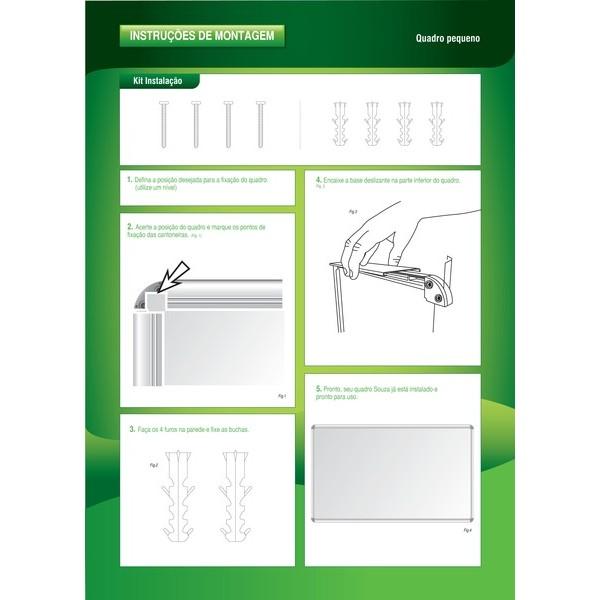 Quadro Branco Mensal 120x90cm Melamínico Fórmica com Moldura de Alumínio Luxo - Souza
