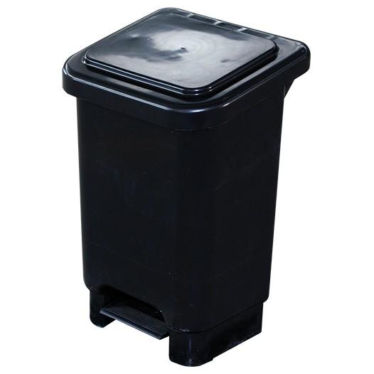 Lixeira com Pedal 50L Preta com Suporte para Saco de Lixo