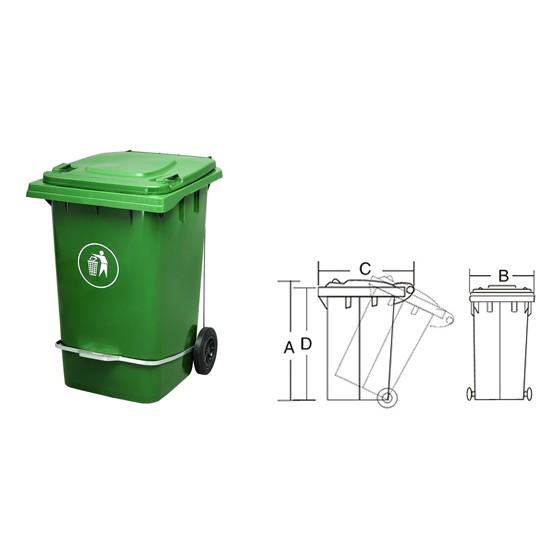 Lixeira Carrinho Coletor de Lixo 240 Litros COM Pedal BRANCA