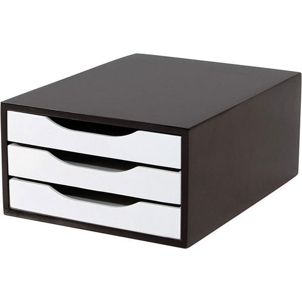 Caixa Arquivo Gaveteiro em MDF Black Piano com 3 Gavetas Brancas
