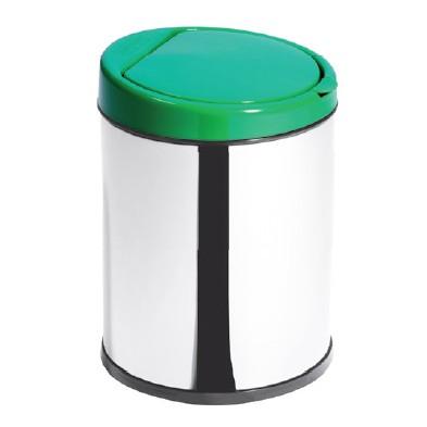 Lixeira Inox 3L com Balde Click Tampa Verde - Ø16 X 23cm