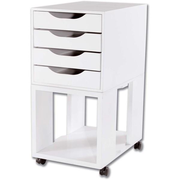Caixa Arquivo Gaveteiro Easy Box em MDF com Base com rodízios e 4 Gavetas - Branco
