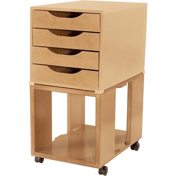 Caixa Arquivo Gaveteiro Easy Box em MDF com Base com rodízios e 4 Gavetas - Natural - Souza