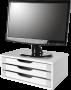 Suporte para Monitor de Mesa em MDF Branco com 3 Gavetas Brancas