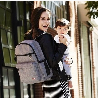 BOLSA MATERNIDADE - DIAPER BAG - DUO SIGNATURE - BACKPACK - MOCHILA - HEATHER GREY SKIP HOP