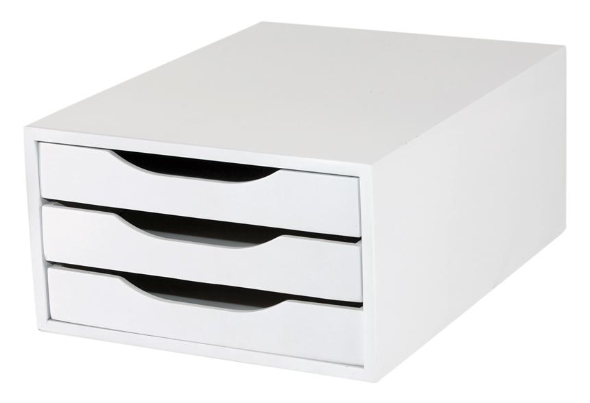 Caixa Arquivo Gaveteiro em MDF Branco com 3 Gavetas Brancas