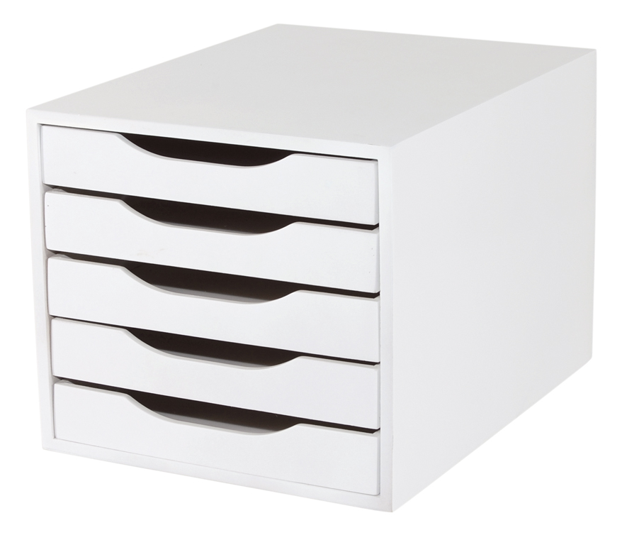 Caixa Arquivo Gaveteiro em MDF Branco com 5 Gavetas Branco