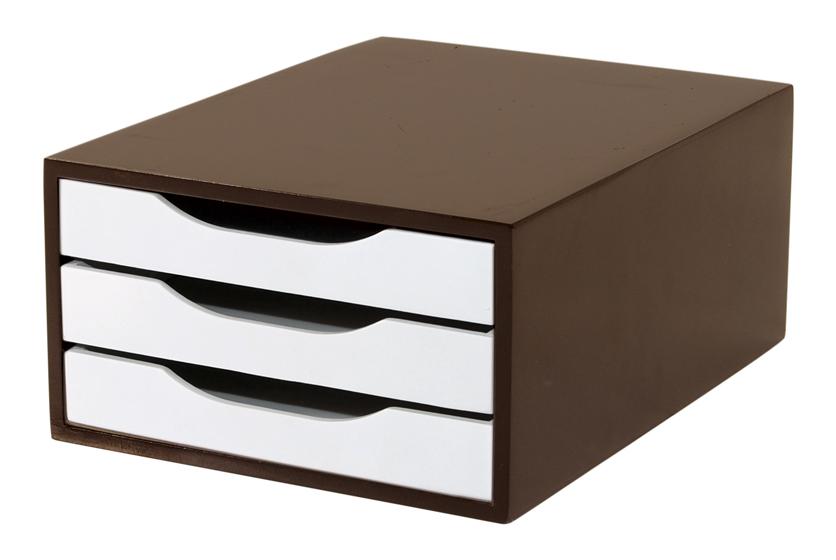 Caixa Arquivo Gaveteiro em MDF Tabaco com 3 Gavetas Brancas