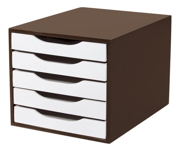 Caixa Arquivo Gaveteiro em MDF Tabaco com 5 Gavetas Brancas