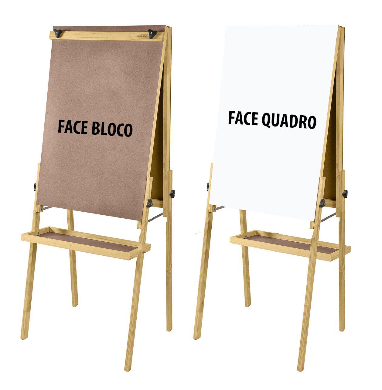 Cavalete Flip Chart Porta Bloco Compacto Dupla Face com Quadro Branco e Duratex estrutura em Madeira Altura Ajustável 1,63 ou 1,72 m - 2511 Souza