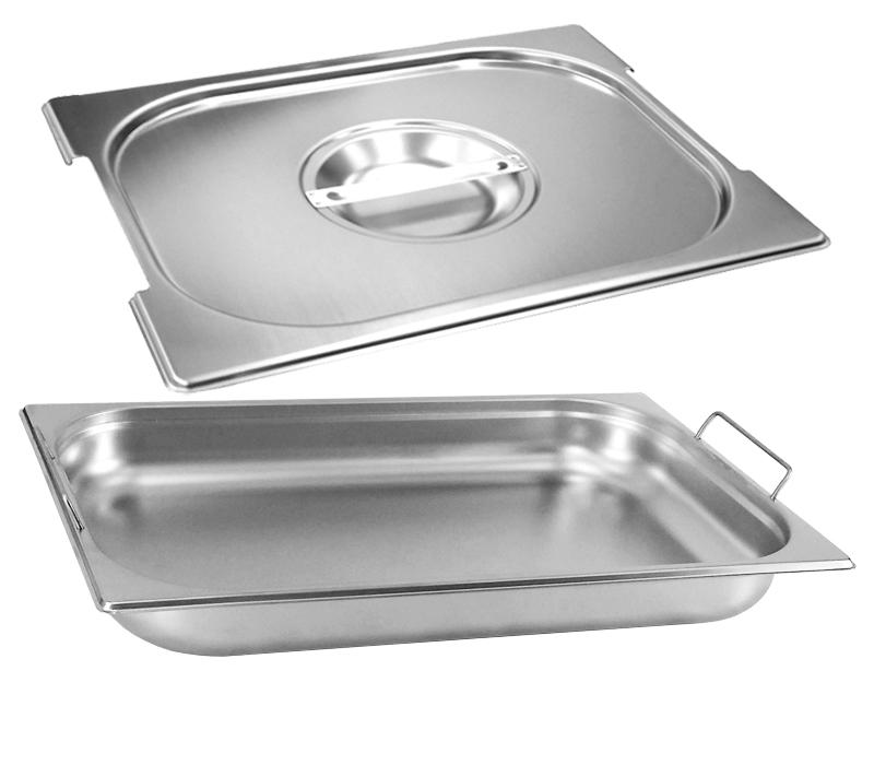 Cuba Gastronômica Inox GN 1/1x65 mm com alça COM TAMPA com recorte