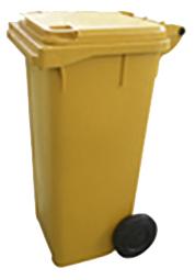 Lixeira Carrinho Coletor de Lixo 120 Litros Sem Pedal Amarela