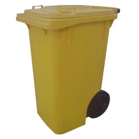 Lixeira Carrinho Coletor de Lixo 240 Litros Sem Pedal AMARELA