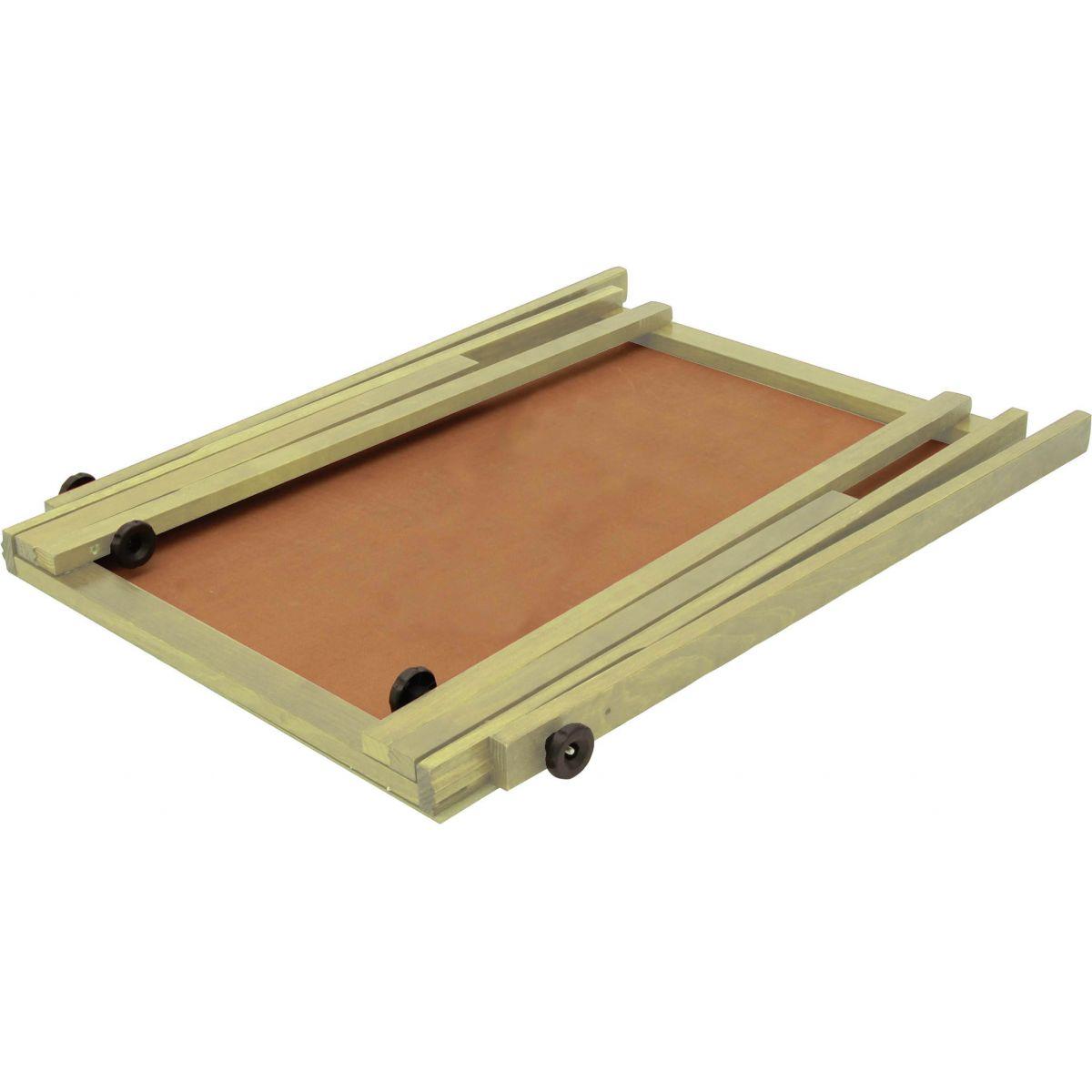 Cavalete Flip Chart Porta Bloco Compacto com Quadro Duratex estrutura em Madeira Cor Natural Altura Ajustável 1,63 ou 1,72 m - 2509 Souza