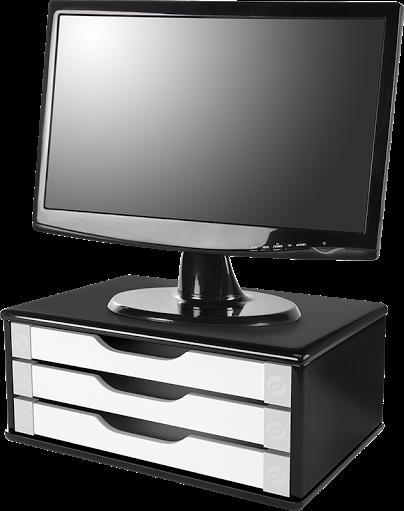 Suporte para Monitor de Mesa em MDF Black Piano com 3 Gavetas Brancas Souza Referência 3349