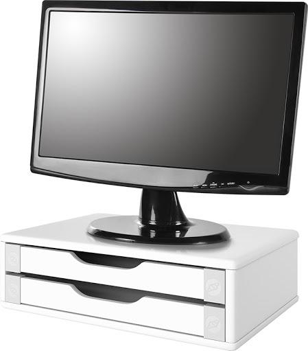 Suporte para Monitor de Mesa em MDF Branco com 2 Gavetas Brancas