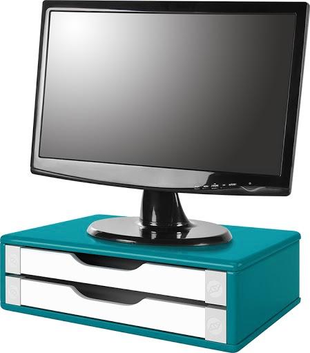 Suporte para Monitor de Mesa em MDF Azul com 2 Gavetas Brancas