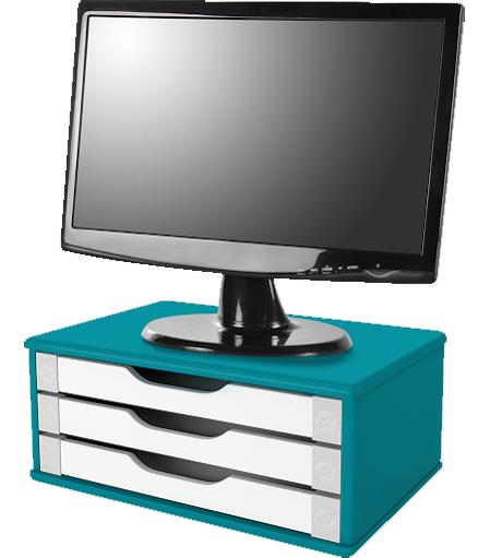 Suporte para Monitor de Mesa em MDF Azul com 3 Gavetas Brancas Souza Referência 3357