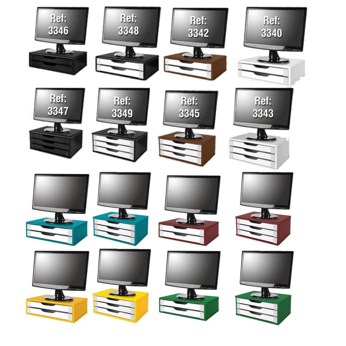 Suporte para Monitor de Mesa em MDF Tabaco escuro com 3 Gavetas Brancas