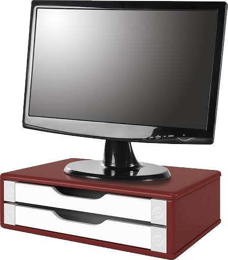 Suporte para Monitor de Mesa em MDF Vermelho com 2 Gavetas Brancas