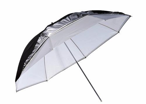 Sombrinha Reversível Rebatedora Prata / Preto / Branco 91CM