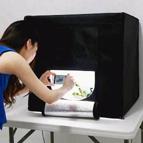 Mini Estúdio Fotografico Tenda Portátil Fundo Infinito 40x40