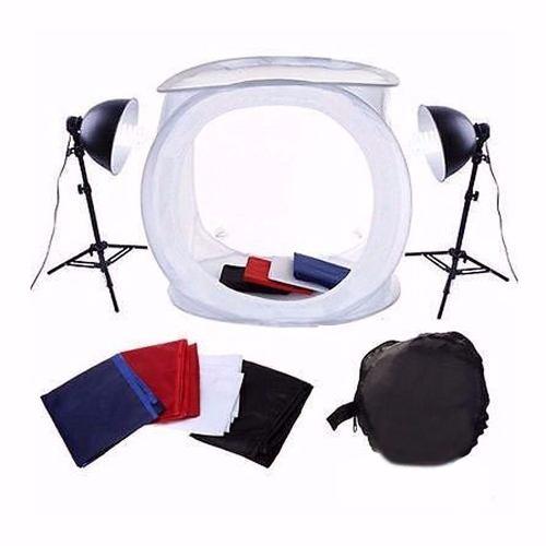 Mini Estúdio Fotográfico Tenda 40cm Com Kit de Iluminação 40x40 PKST-07 110V