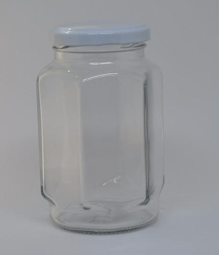 15 Potes De Vidro Sextavado Atacado 377ml - Tampa Branca - Para Geleia, Mel, Brindes, etc