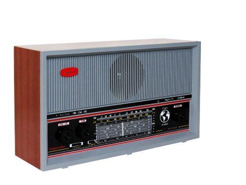 Radio de Mesa de Madeira 9 Faixas Cinza - Crmif-91
