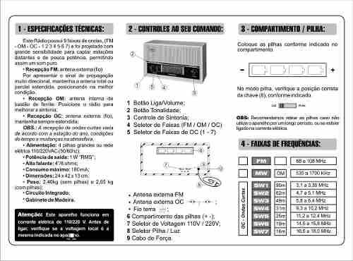 RÁDIO DE MESA IMPERADOR CINZA COMPANHEIRO 6 FAIXAS COM ENTRADA AUXILIAR - CRMIF61C