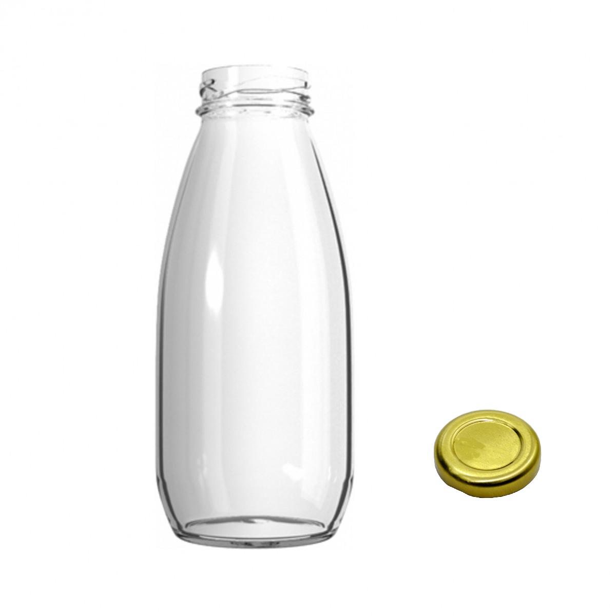 24 Garrafas De Vidro 300ml - Tampa Dourada -  Para Suco, Brindes, Doces, etc
