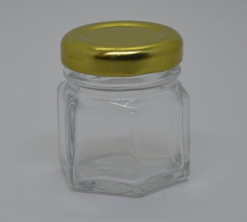 144 Potinhos De Vidro Sextavado 40ml - Tampa Dourada - Atacado Para Bala Confete