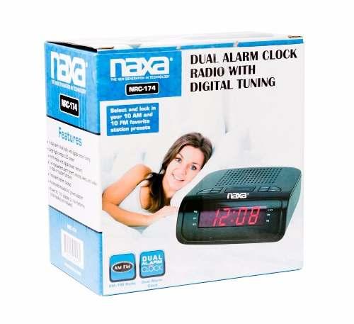 Rádio Relógio Digital Naxa AM/FM Com 2 Alarmes 110v - Nrc-174