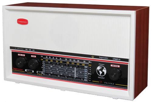 Radio Retrô Vintage Em Madeira Com 9 Faixas Ondas Curtas Branco CRMIF-91