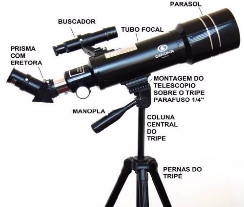 Telescópio Azimutal Refrator Com Tripe E Acessórios - 400 x 70mm  - TELE-40070