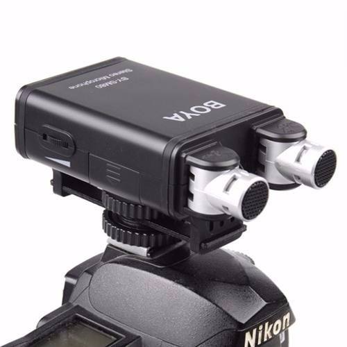 Microfone Duplo Estereo Para Câmeras e Celulares Com Retorno e Fone de Ouvido - By-sm80