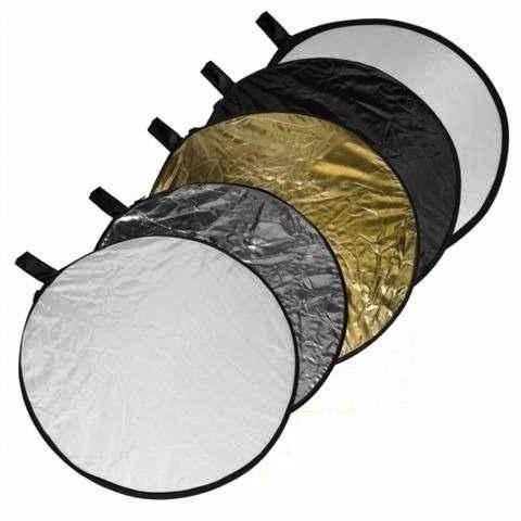 Rebatedor Refletor Fotográfico E Difusor 5 em 1 Dobravel - Rebatedor 5x1 80CM