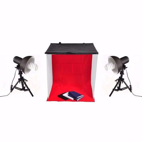 Mini Estúdio Tenda Difusor 60cm Portátil + Iluminação 4 Fundos 110v